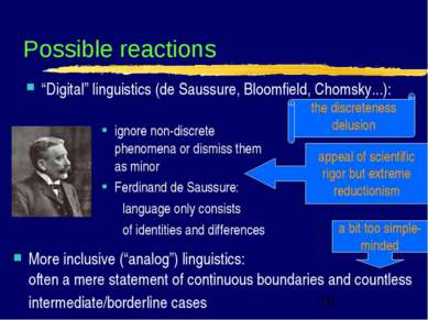 "Possible reactions ""Digital"" linguistics (de Saussure, Bloomfield, Chomsky......"
