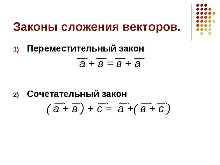 Законы сложения векторов. Переместительный закон а + в = в + а Сочетательный ...