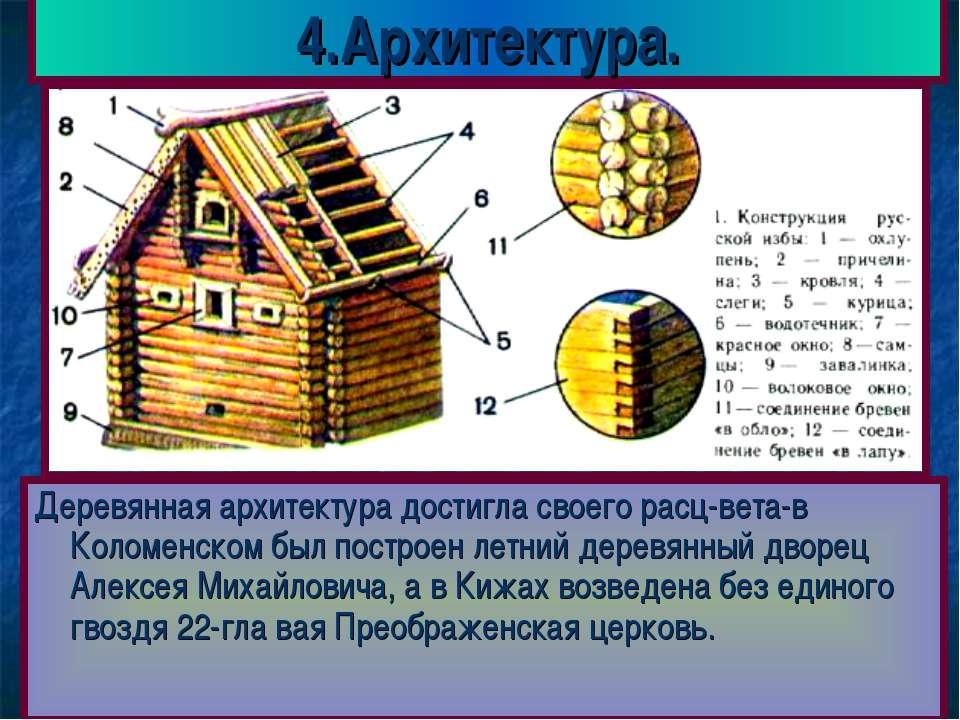4.Архитектура. Деревянная архитектура достигла своего расц-вета-в Коломенском...
