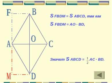 S FBDM = S ABCD, так как S FBDM = AO · BD, Значит S ABCD = АС · BD.