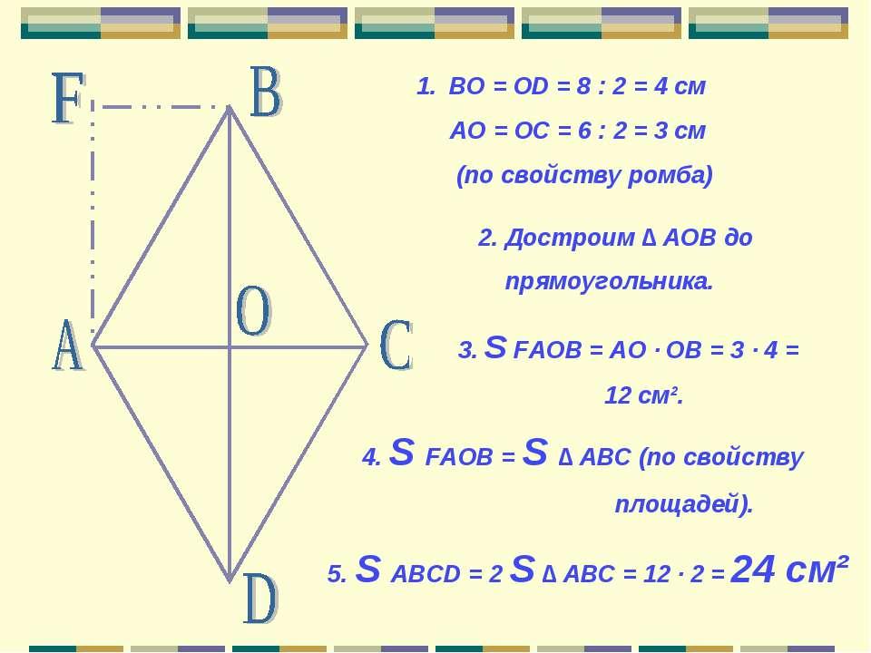 BO = OD = 8 : 2 = 4 см АО = ОС = 6 : 2 = 3 см (по свойству ромба) 2. Достроим...
