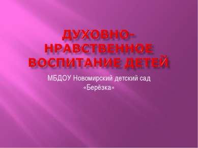 МБДОУ Новомирский детский сад «Берёзка»
