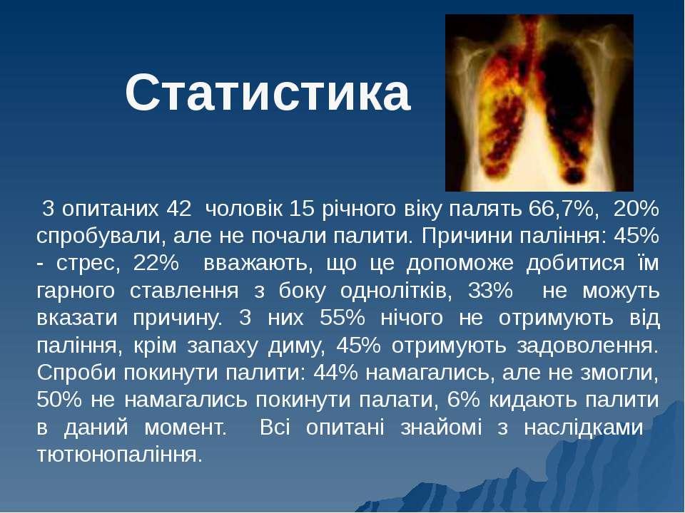 Статистика З опитаних 42 чоловік 15 річного віку палять 66,7%, 20% спробували...