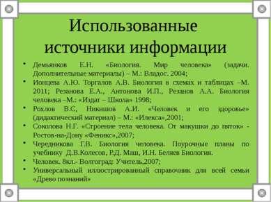 Использованные источники информации Демьянков Е.Н. «Биология. Мир человека» (...