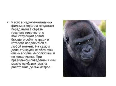 Часто в недокументальных фильмах горилла предстает перед нами в образе грозно...