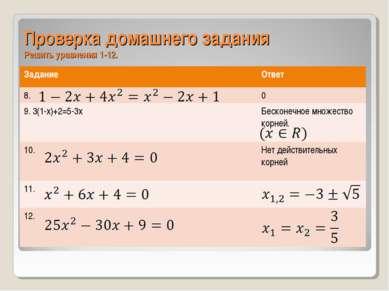 Проверка домашнего задания Решить уравнения 1-12. Задание Ответ 8. 0 9. 3(1-x...