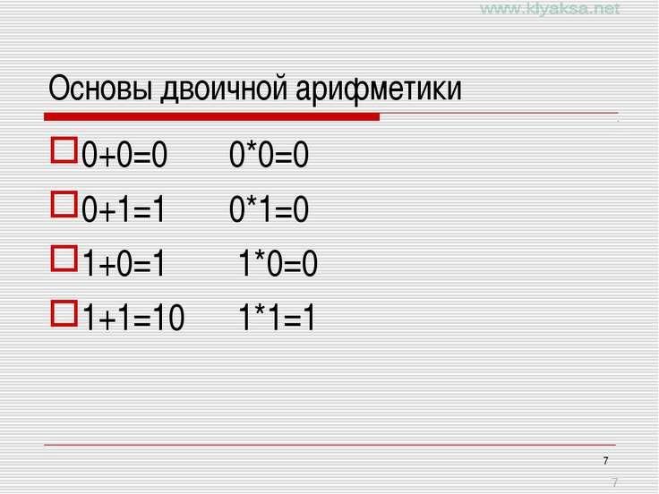 * Основы двоичной арифметики 0+0=0 0*0=0 0+1=1 0*1=0 1+0=1 1*0=0 1+1=10 1*1=1 *