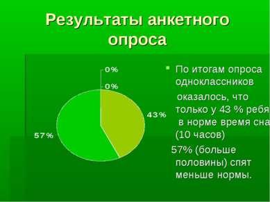 Результаты анкетного опроса По итогам опроса одноклассников оказалось, что то...