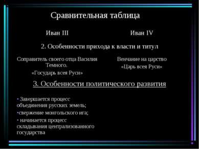 Сравнительная таблица Иван III Иван IV 2. Особенности прихода к власти и титу...
