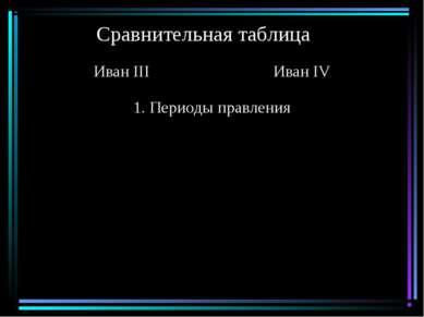 Сравнительная таблица Иван III Иван IV 1. Периоды правления
