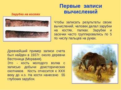 Древнейший пример записи счета был найден в 1937г. около деревни Вестоница (М...
