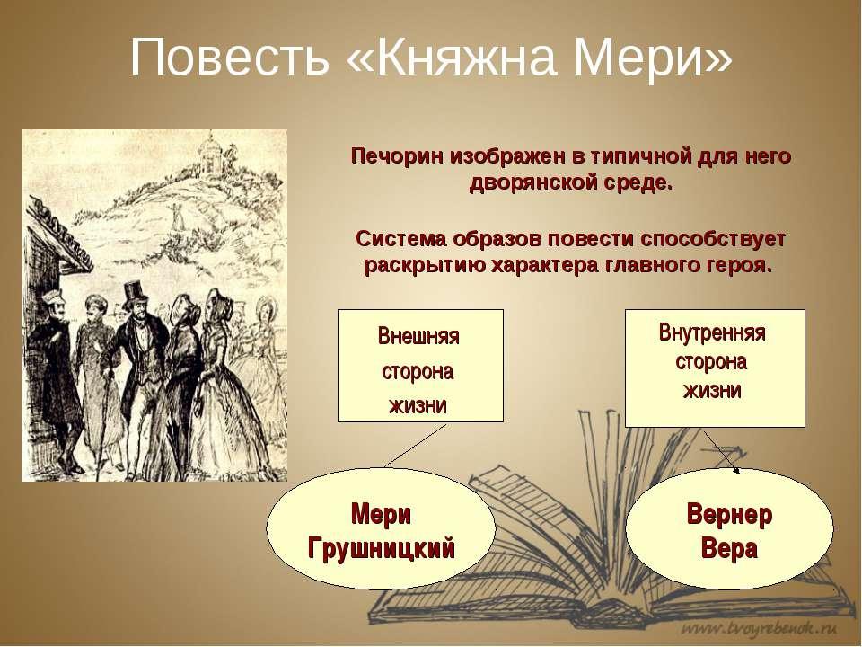 Повесть «Княжна Мери» Печорин изображен в типичной для него дворянской среде....