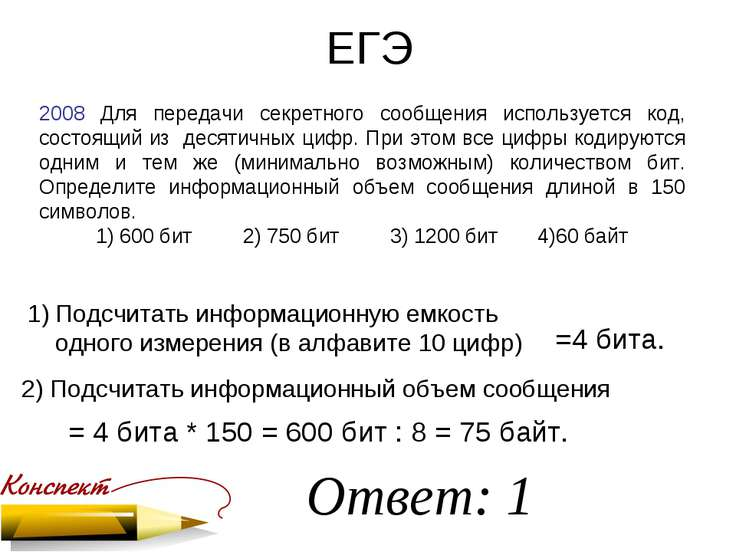 ЕГЭ 2008 Для передачи секретного сообщения используется код, состоящий из дес...