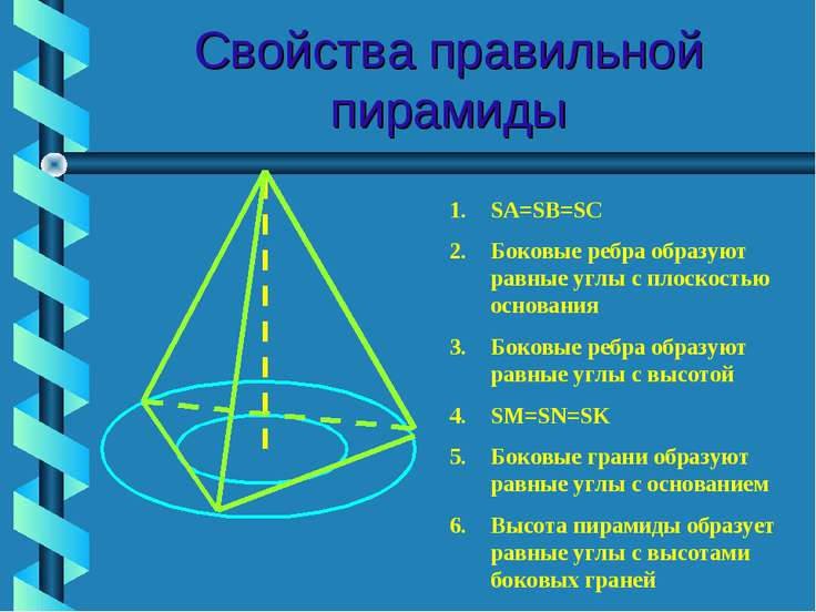 Свойства правильной пирамиды SA=SB=SC Боковые ребра образуют равные углы с пл...