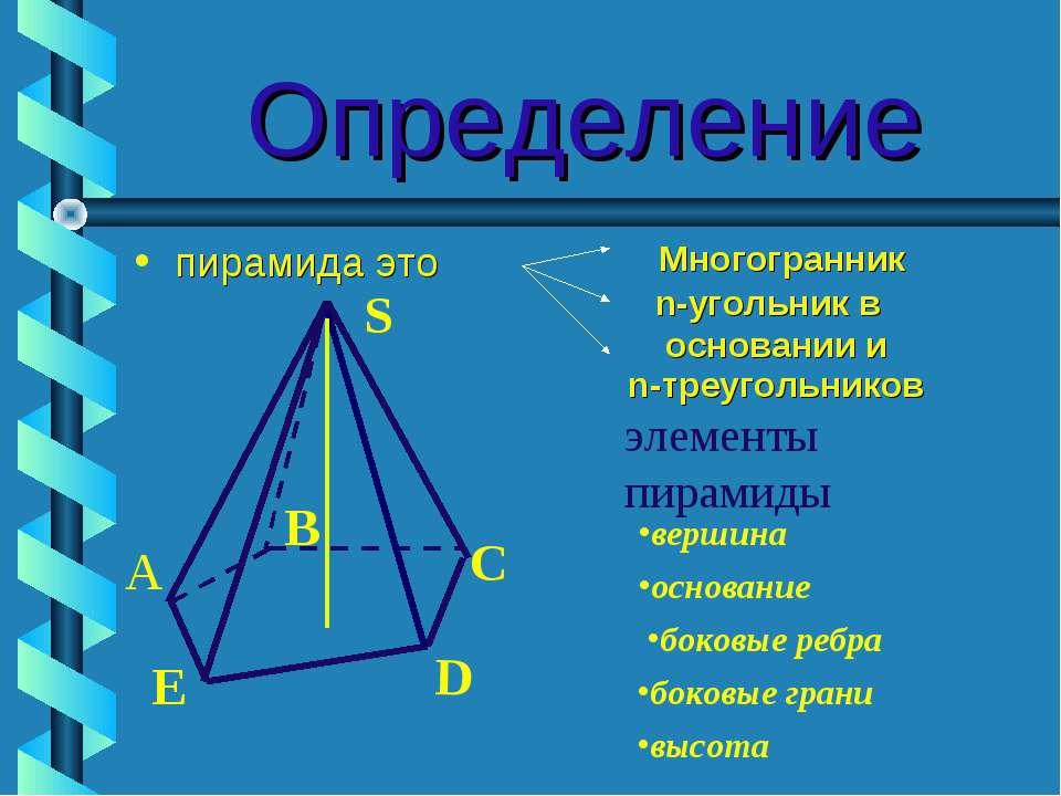 Определение пирамида это n-треугольников элементы пирамиды S B C D E А вершин...