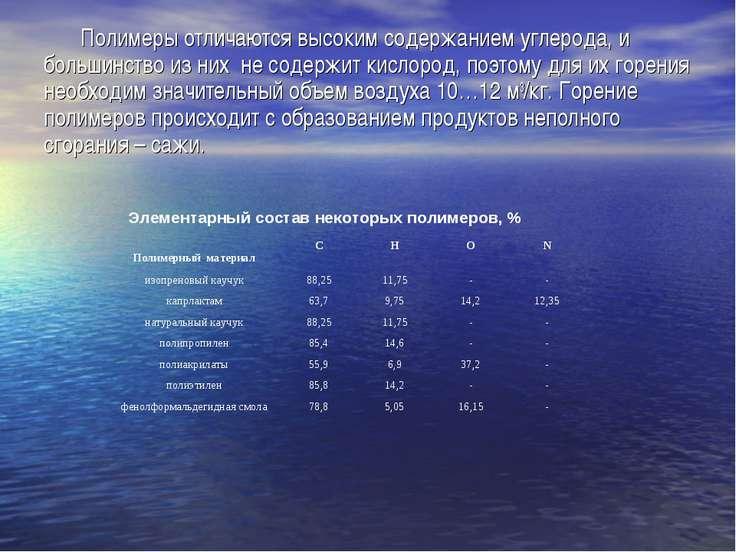 Полимеры отличаются высоким содержанием углерода, и большинство из них не сод...