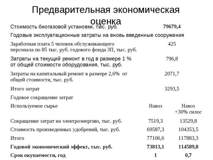 Предварительная экономическая оценка Стоимость биогазовой установки, тыс. руб...