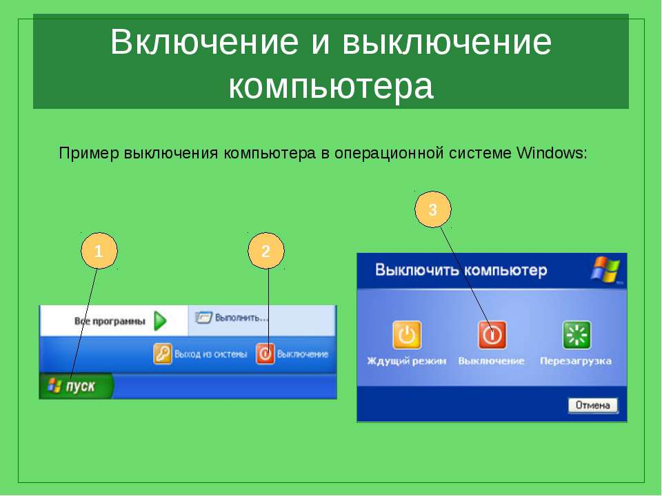 Включение и выключение компьютера Пример выключения компьютера в операционной...
