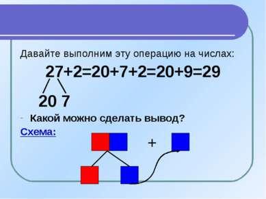 Давайте выполним эту операцию на числах: 27+2=20+7+2=20+9=29 20 7 Какой можно...
