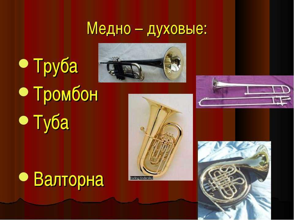 Медно – духовые: Труба Тромбон Туба Валторна