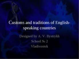 Customs and traditions of English-speaking countries