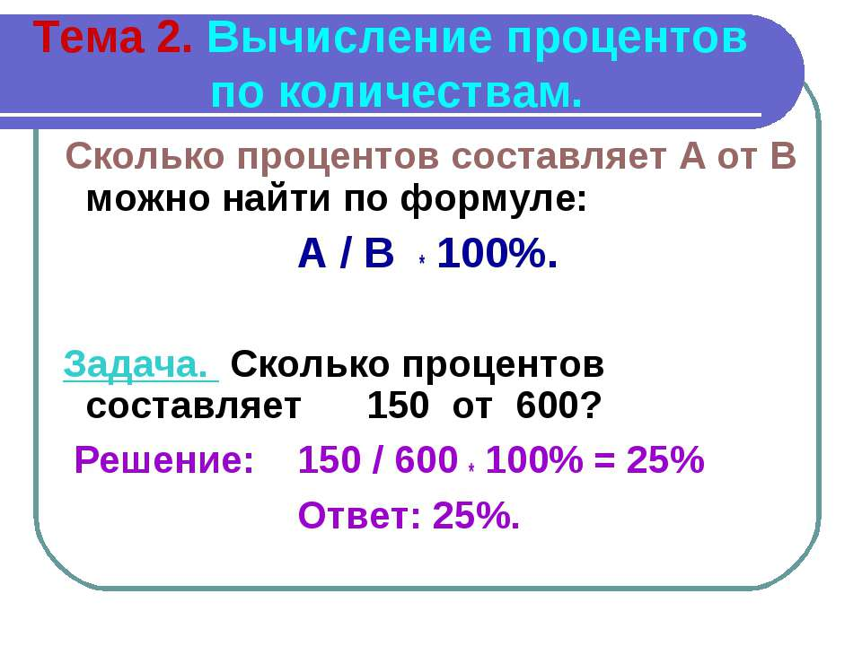 Тема 2. Вычисление процентов по количествам. Сколько процентов составляет А о...