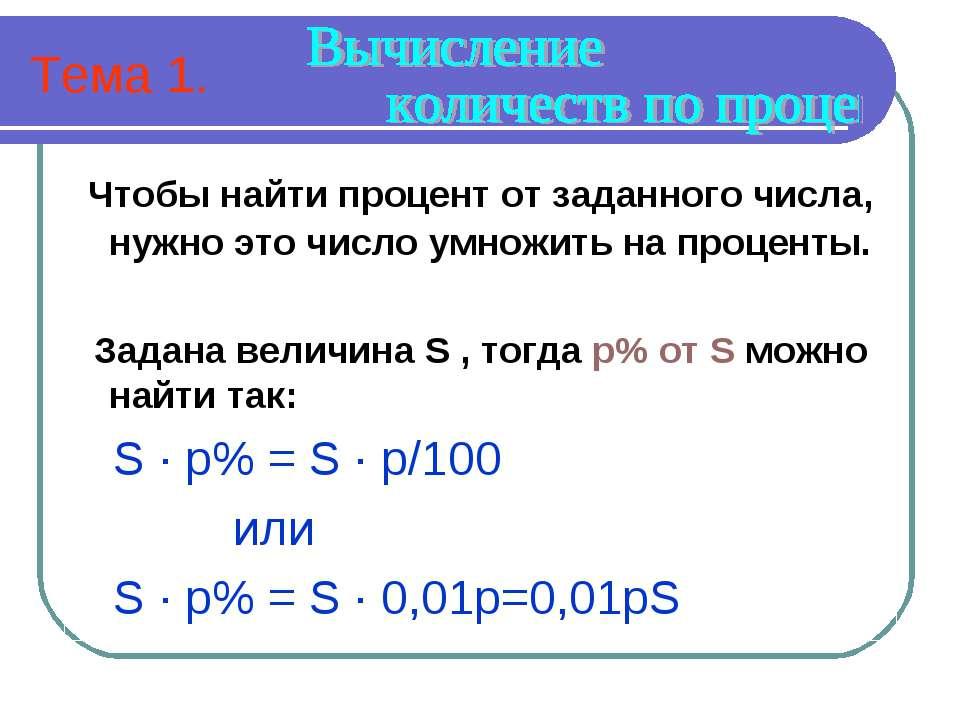 Тема 1. Чтобы найти процент от заданного числа, нужно это число умножить на п...
