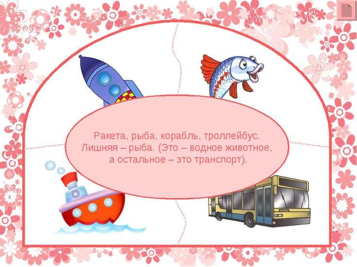 Ракета, рыба, корабль, троллейбус. Лишняя – рыба. (Это – водное животное, а о...