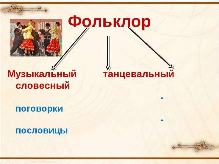 Фольклор Музыкальный танцевальный словесный -поговорки -пословицы