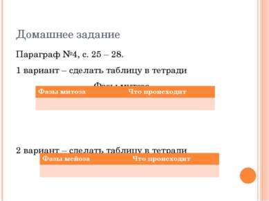Домашнее задание Параграф №4, с. 25 – 28. 1 вариант – сделать таблицу в тетра...