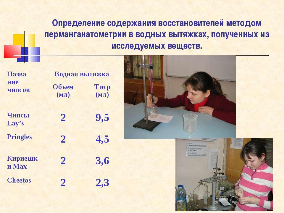 Определение содержания восстановителей методом перманганатометрии в водных вы...