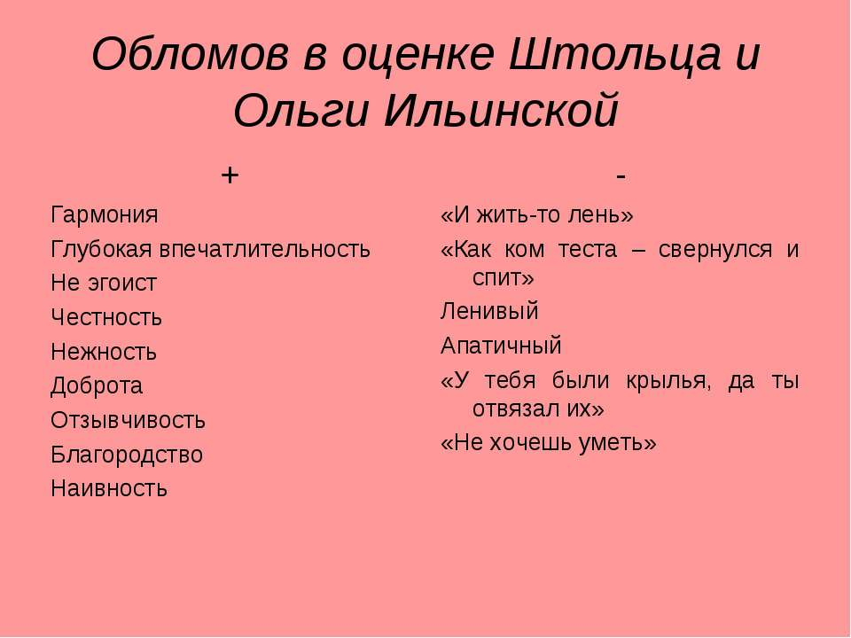 Обломов в оценке Штольца и Ольги Ильинской + Гармония Глубокая впечатлительно...