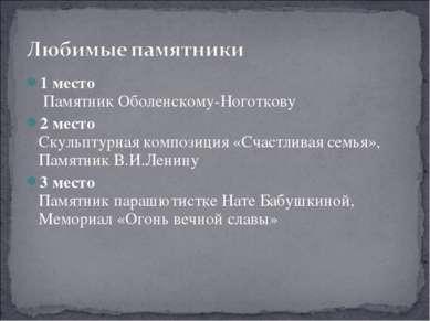 1 место Памятник Оболенскому-Ноготкову 2 место Скульптурная композиция «Счаст...