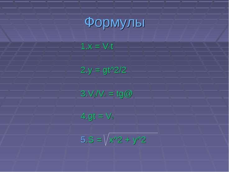 Формулы 1.x = V0t 2.y = gt^2/2 3.Vy/Vx = tg@ 4.gt = V0 5.S = x^2 + y^2