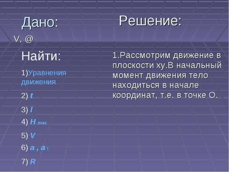 Дано: V, @ Решение: Найти: 1)Уравнения движения 2) t 3) l 4) H max 5) V 6) a ...