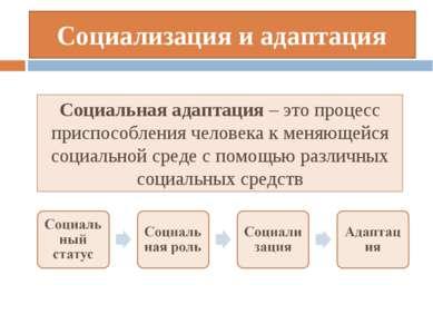Социализация и адаптация Социальная адаптация – это процесс приспособления че...
