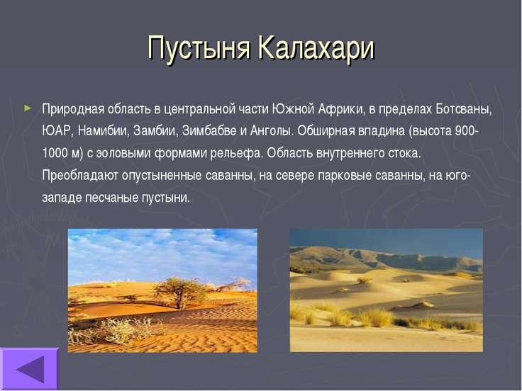 Пустыня Калахари Природная область в центральной части Южной Африки, в предел...