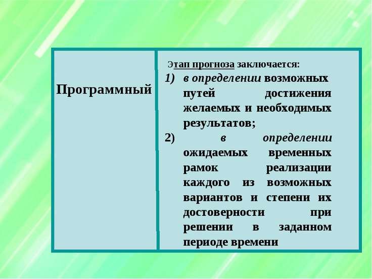 Программный Этап прогноза заключается: в определении возможных путей достижен...