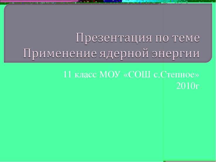11 класс МОУ «СОШ с.Степное» 2010г