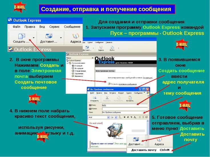 Создание, отправка и получение сообщения Для создания и отправки сообщения 1....