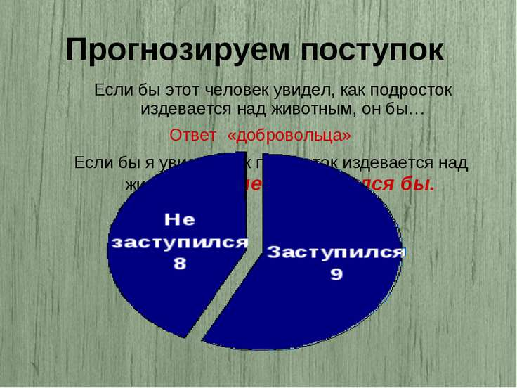 Прогнозируем поступок Ответ «добровольца»