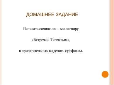 ДОМАШНЕЕ ЗАДАНИЕ Написать сочинение – миниатюру «Встреча с Тютчевым», в прила...