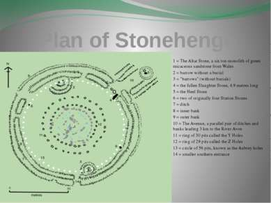 Plan of Stonehenge 1 = The Altar Stone, a six ton monolith of green micaceous...