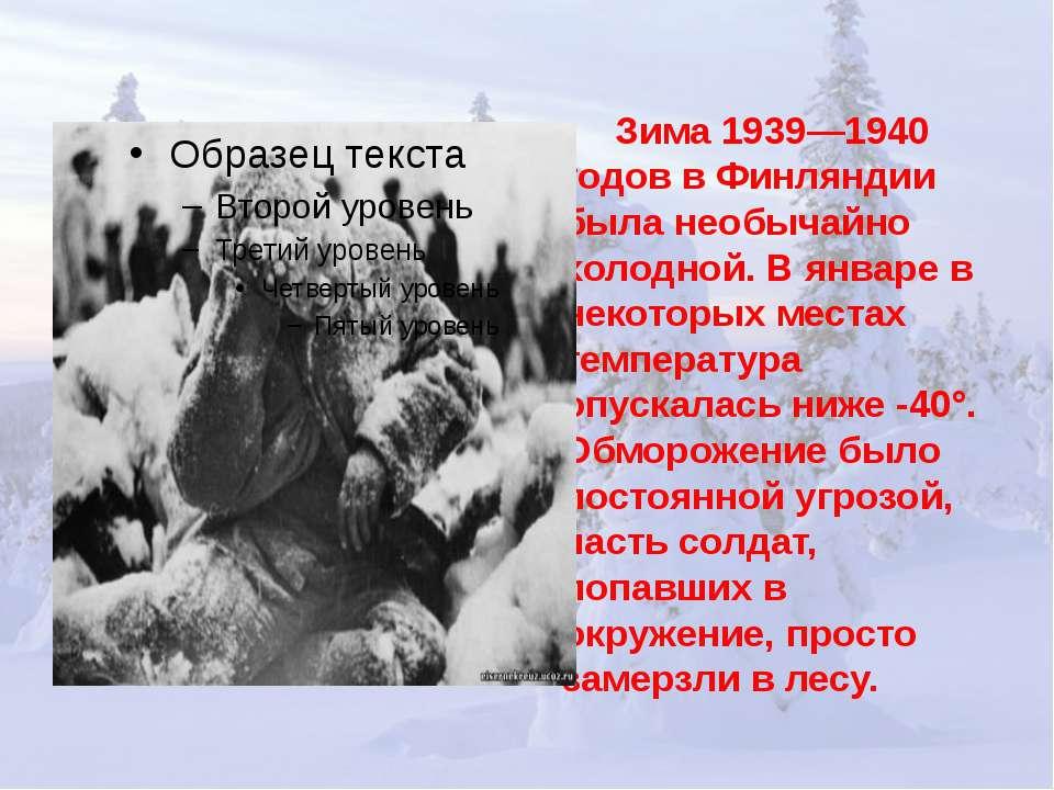 Зима 1939—1940 годов в Финляндии была необычайно холодной. В январе в некотор...