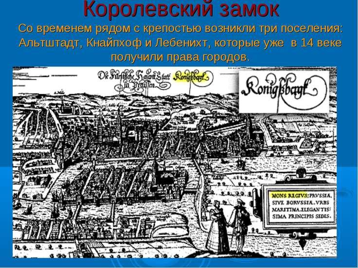 Королевский замок Со временем рядом с крепостью возникли три поселения: Альтш...