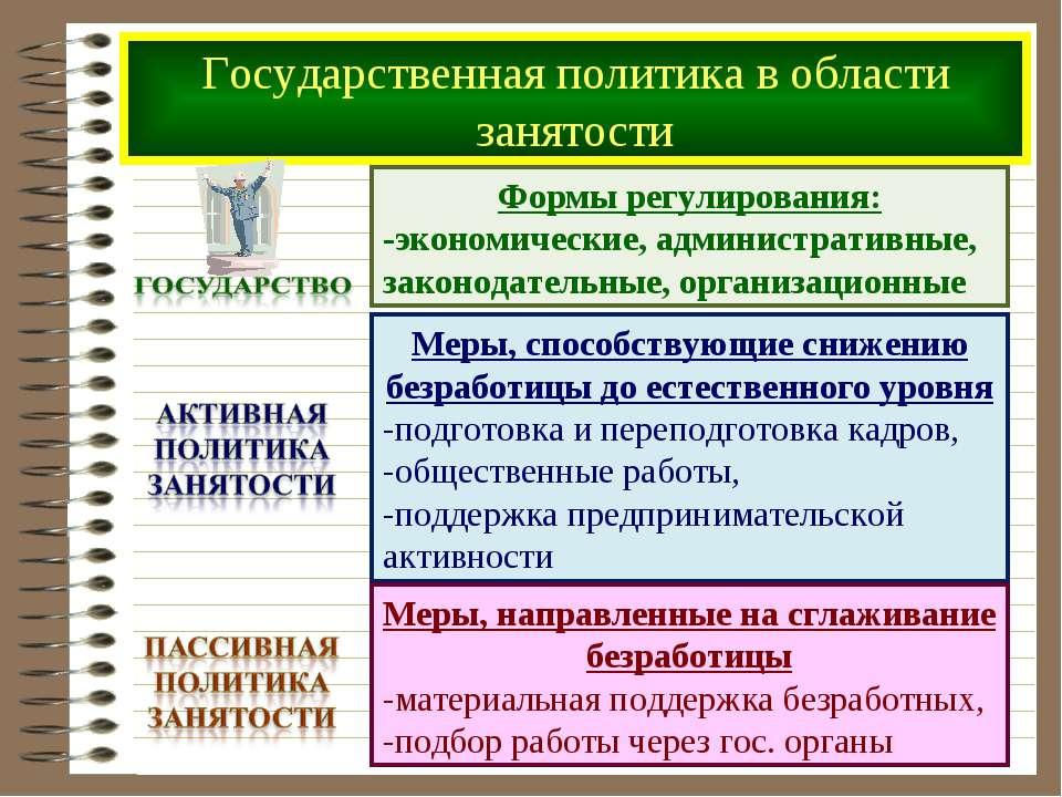 Государственная политика в области занятости Формы регулирования: -экономичес...