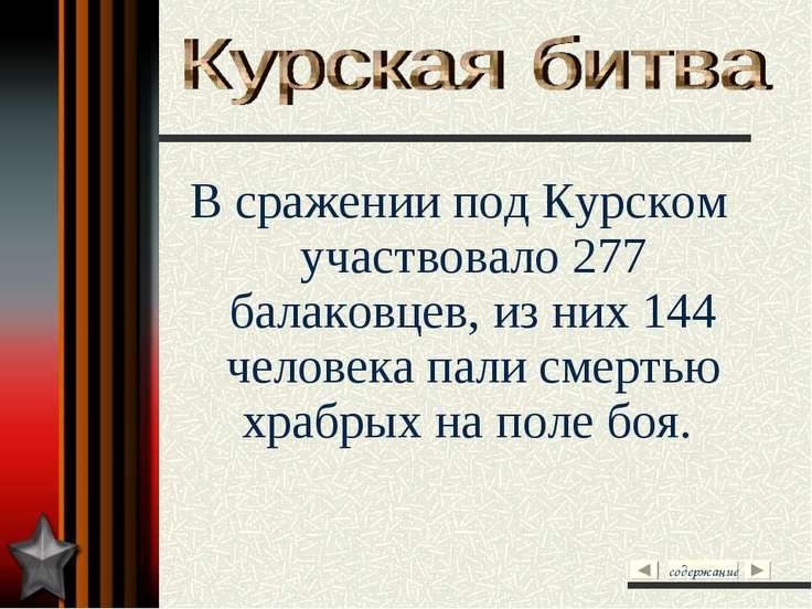В сражении под Курском участвовало 277 балаковцев, из них 144 человека пали с...