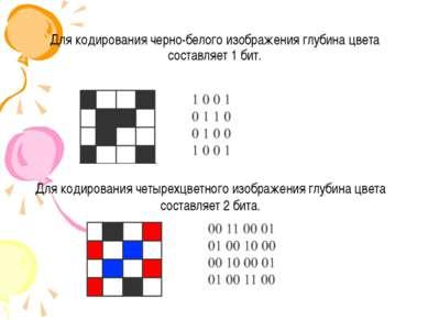 Для кодирования черно-белого изображения глубина цвета составляет 1 бит. Для ...