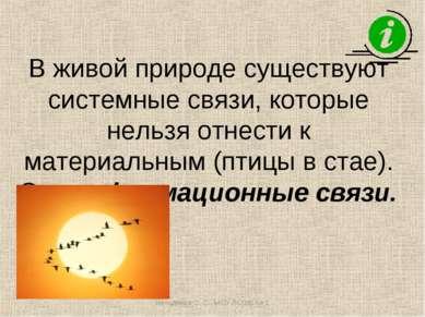 В живой природе существуют системные связи, которые нельзя отнести к материал...