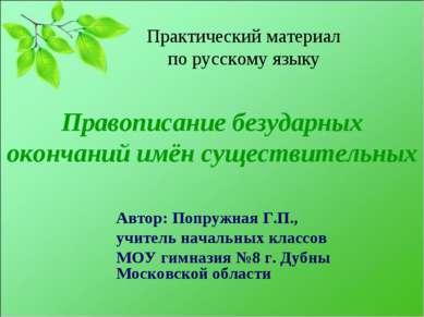 Правописание безударных окончаний имён существительных Автор: Попружная Г.П.,...